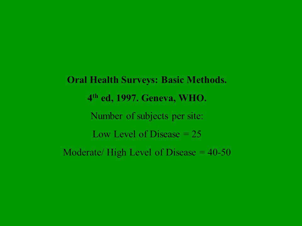 Oral Health Surveys: Basic Methods.
