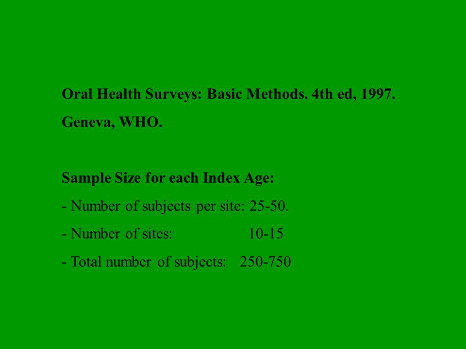 Oral Health Surveys: Basic Methods. 4th ed, 1997. Geneva, WHO.