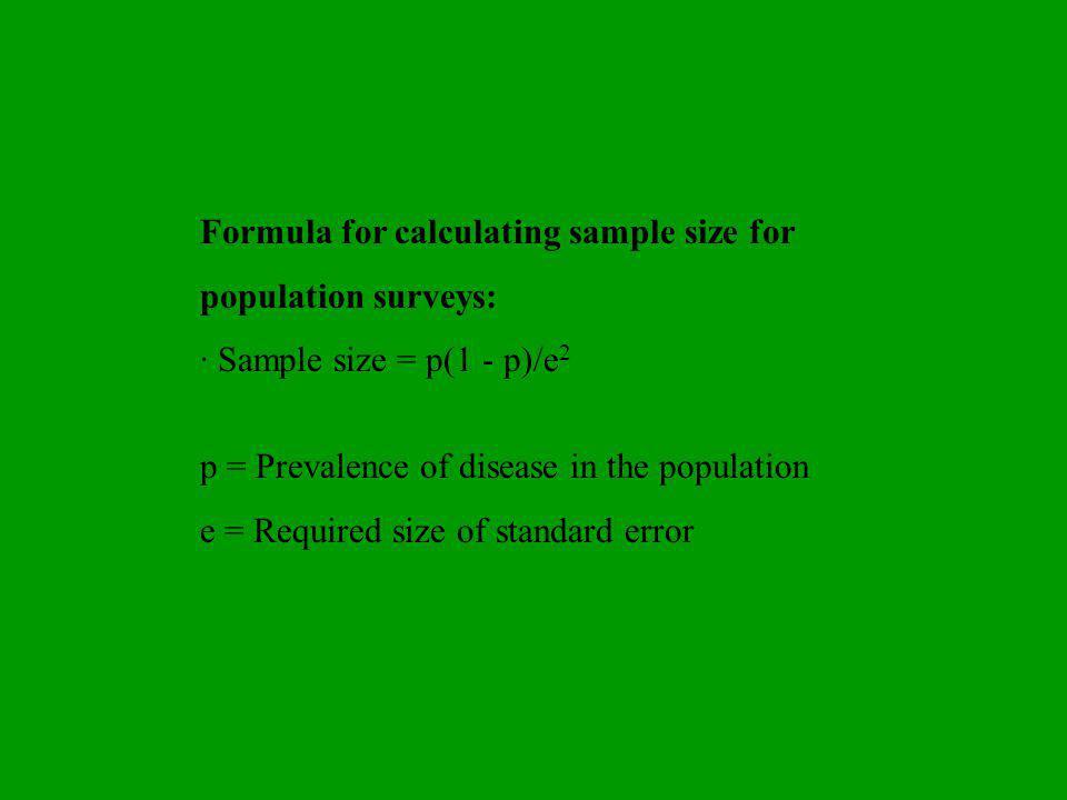 Formula for calculating sample size for population surveys: