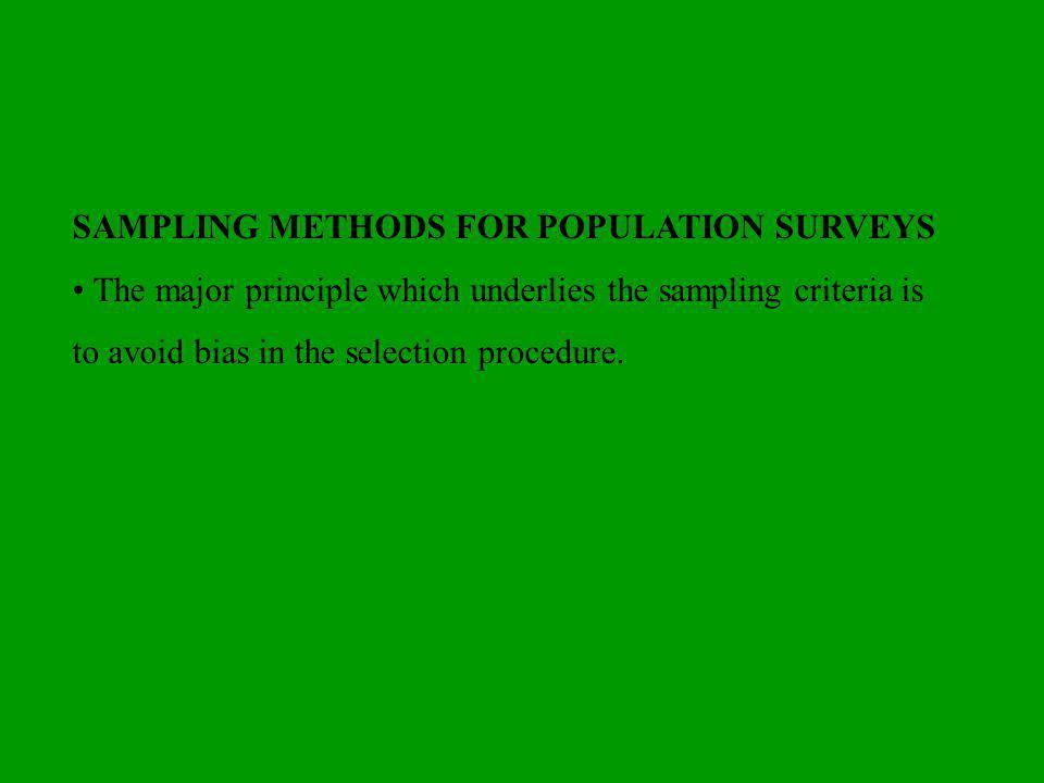 SAMPLING METHODS FOR POPULATION SURVEYS