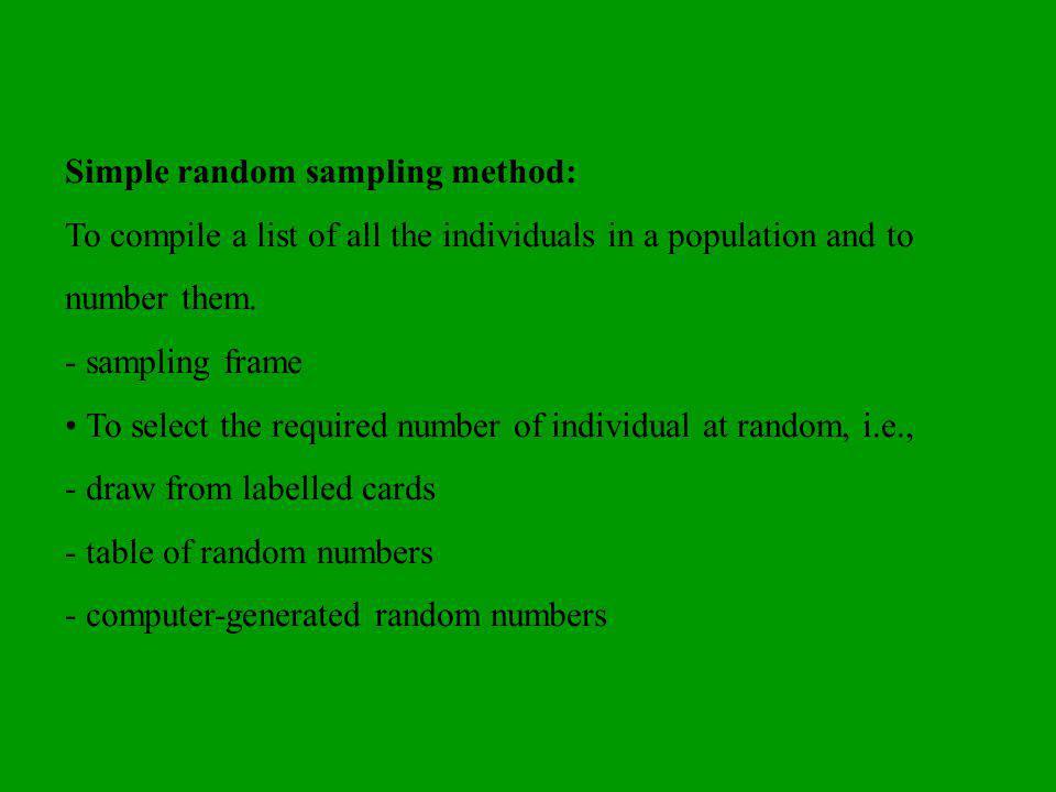 Simple random sampling method: