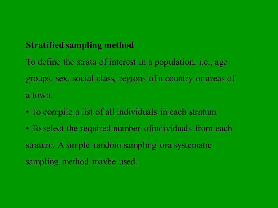 Stratified sampling method