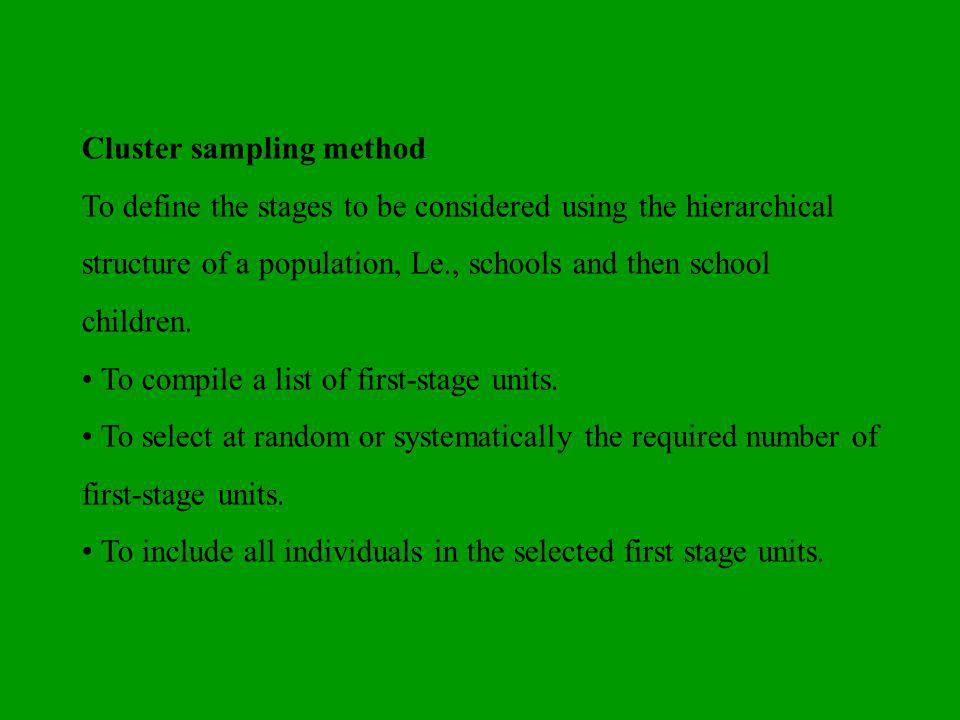 Cluster sampling method