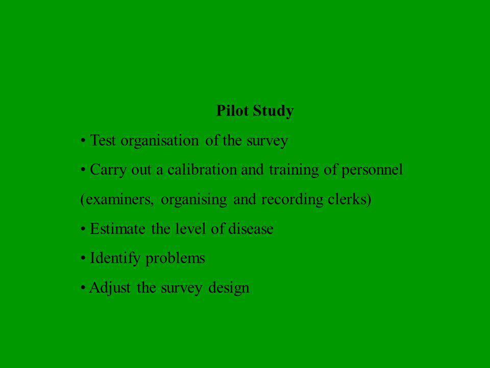 Pilot Study • Test organisation of the survey. • Carry out a calibration and training of personnel (examiners, organising and recording clerks)