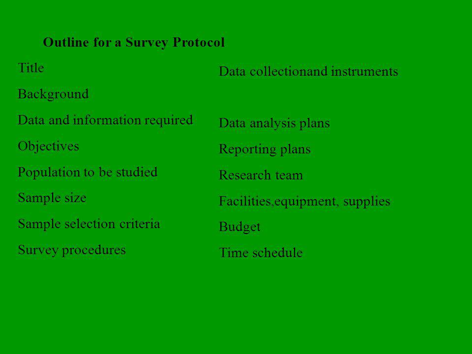 Outline for a Survey Protocol