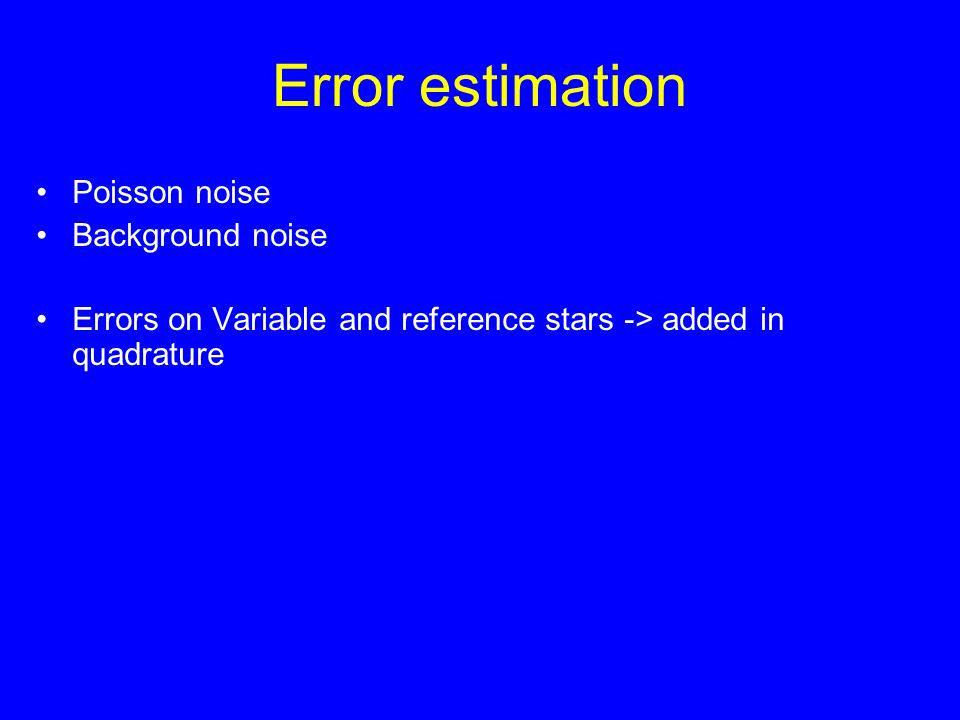 Error estimation Poisson noise Background noise