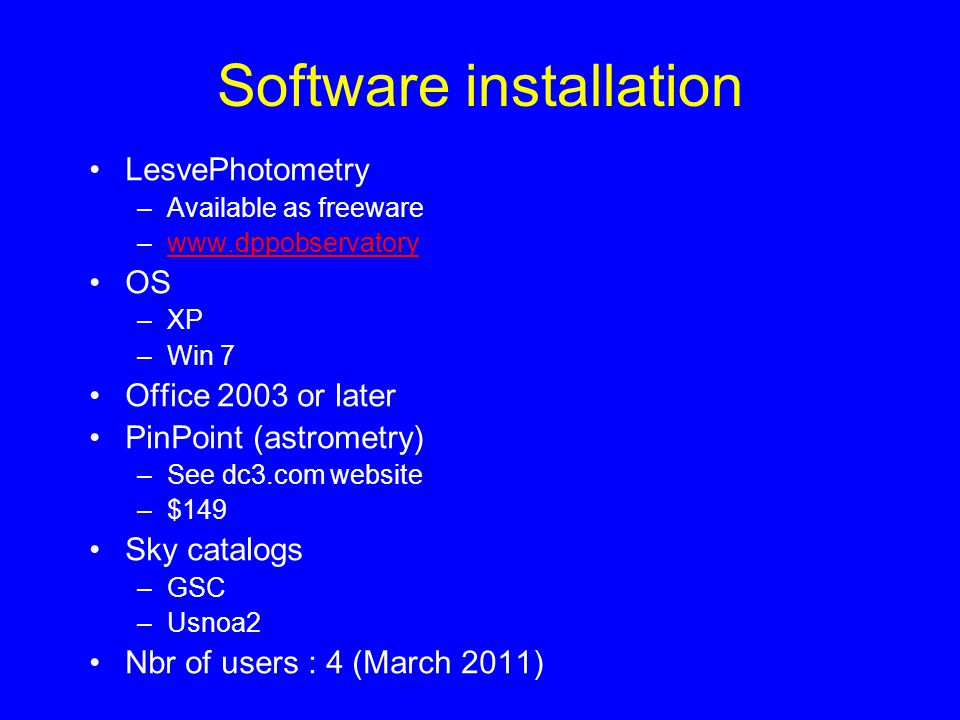 Software installation