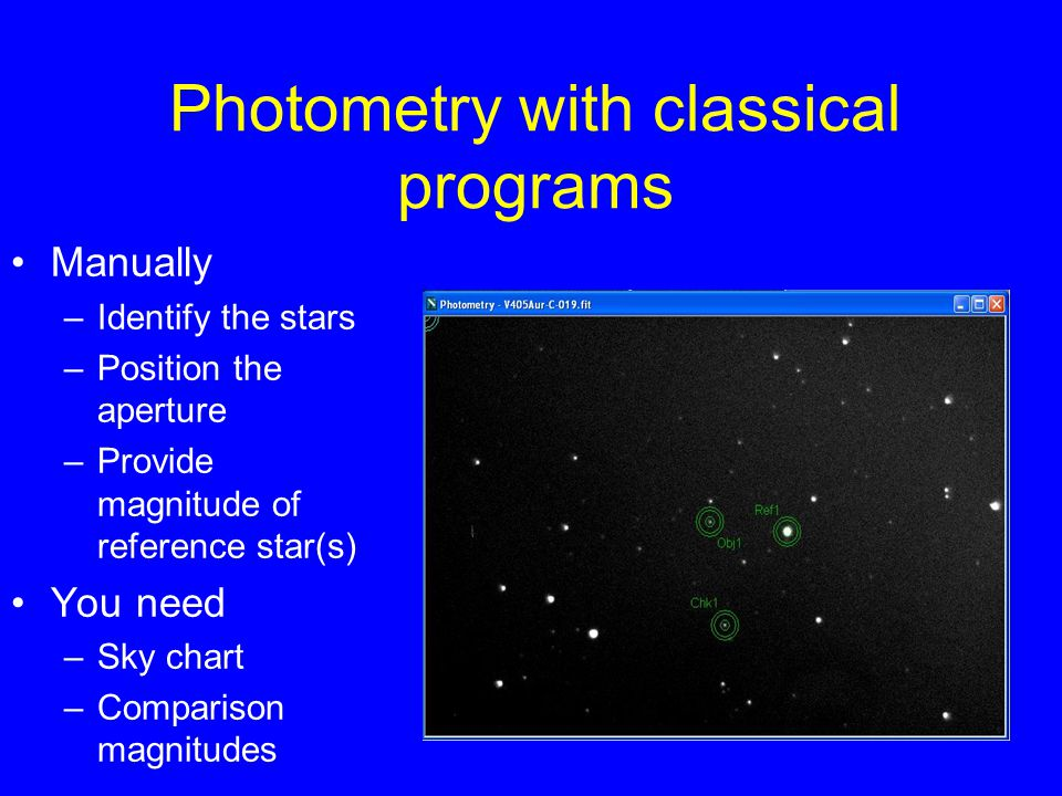 Photometry with classical programs