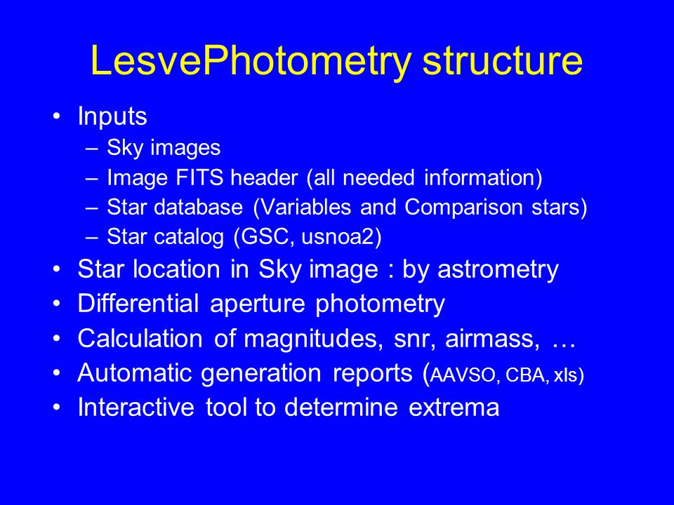 LesvePhotometry structure