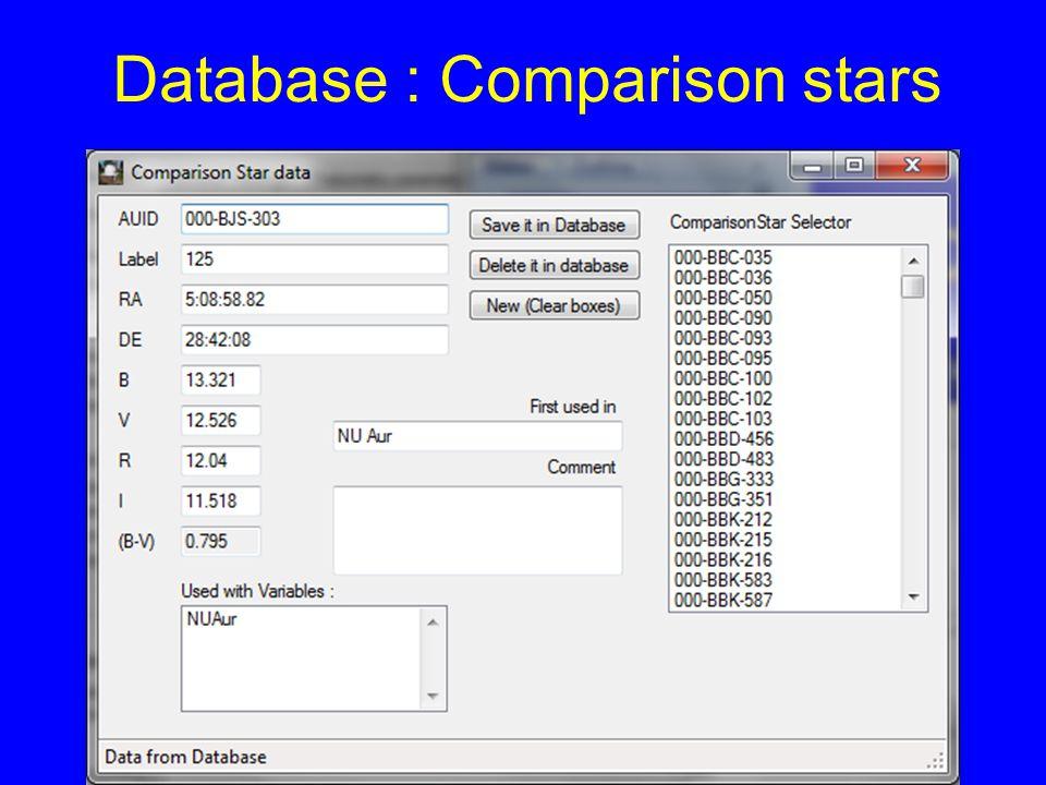 Database : Comparison stars