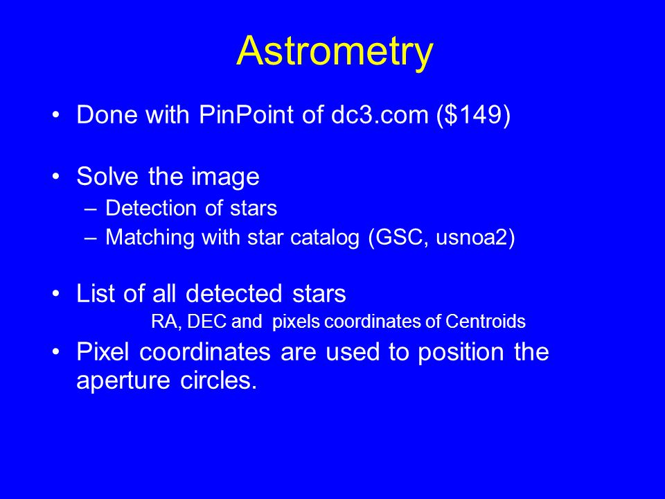 Astrometry Done with PinPoint of dc3.com ($149) Solve the image