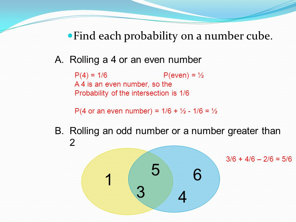 5 6 1 3 4 Find each probability on a number cube.