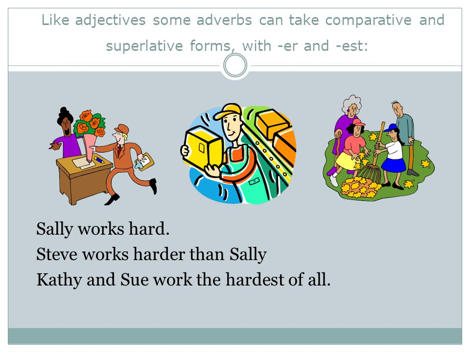 Like adjectives some adverbs can take comparative and superlative forms, with -er and -est: