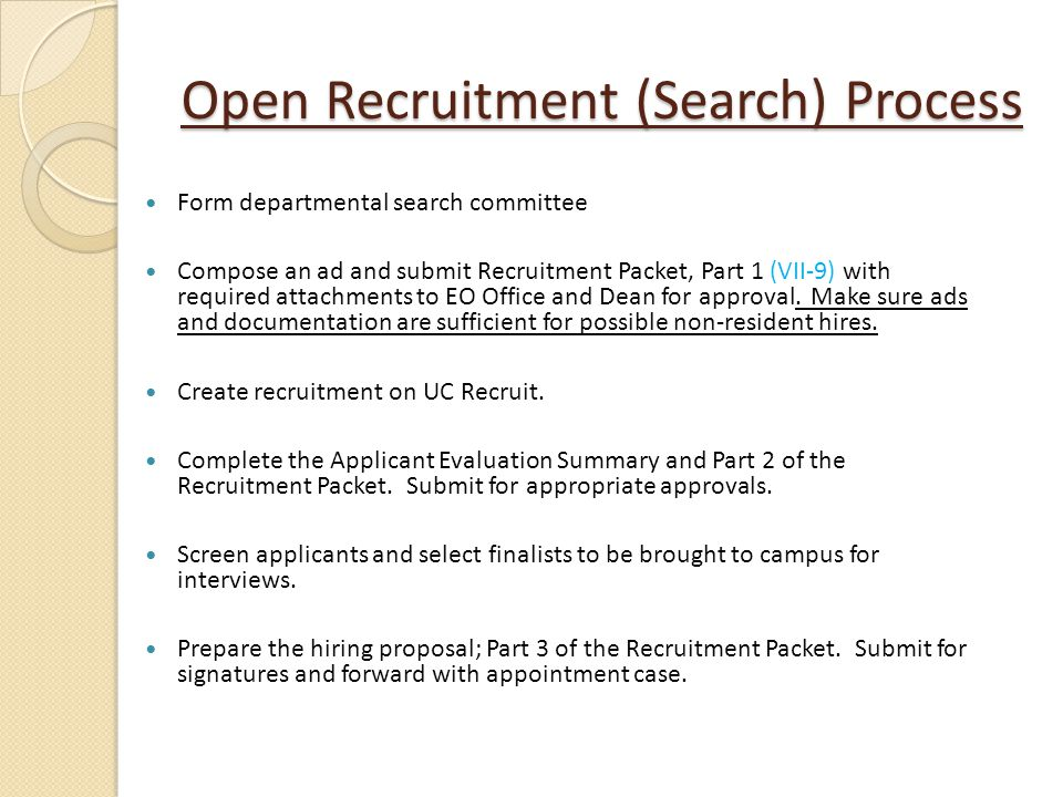 Open Recruitment (Search) Process