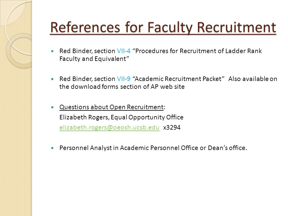 References for Faculty Recruitment
