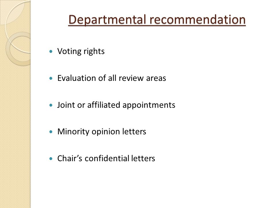 Departmental recommendation