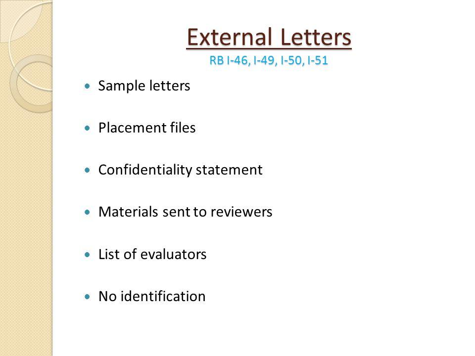 External Letters RB I-46, I-49, I-50, I-51