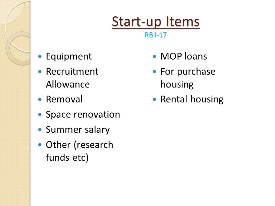 Start-up Items RB I-17 Equipment Recruitment Allowance Removal