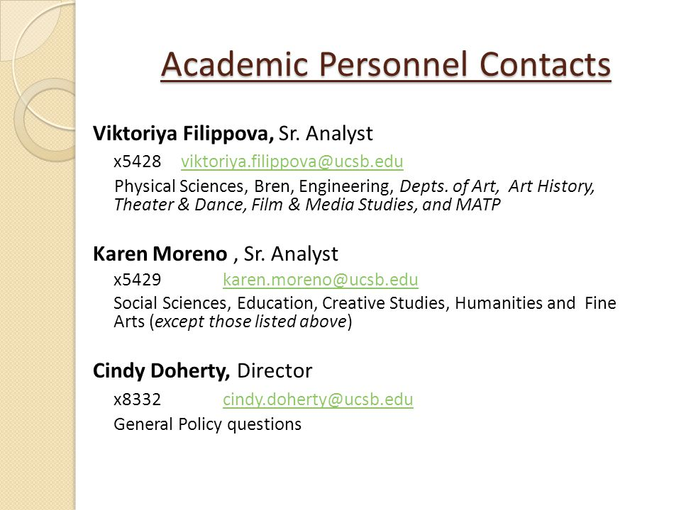 Academic Personnel Contacts