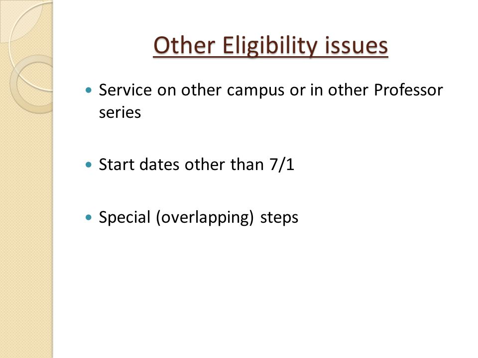 Other Eligibility issues