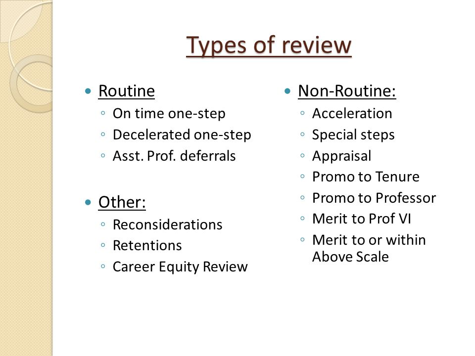 Types of review Routine Other: Non-Routine: On time one-step