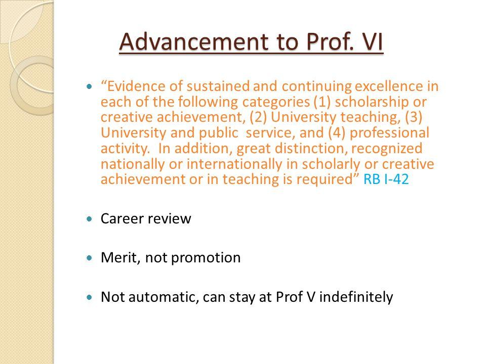 Advancement to Prof. VI