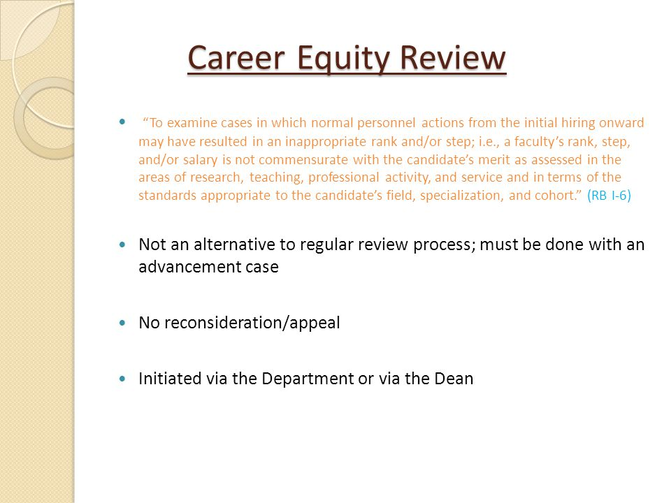 Career Equity Review