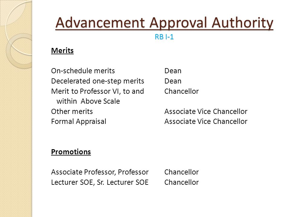 Advancement Approval Authority RB I-1