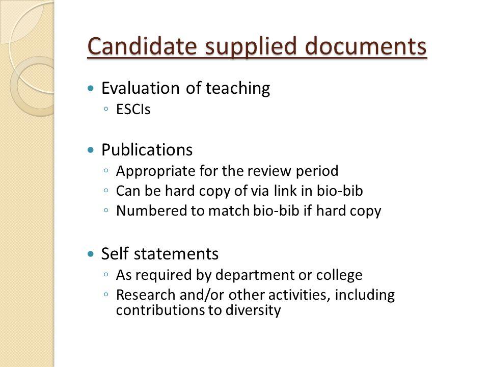 Candidate supplied documents