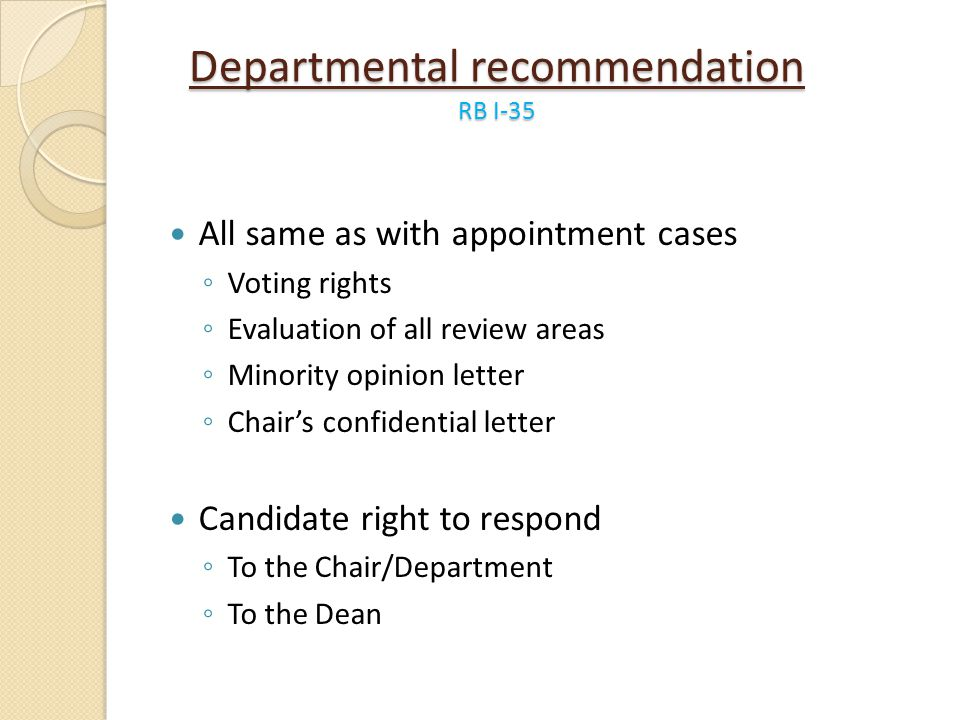 Departmental recommendation RB I-35