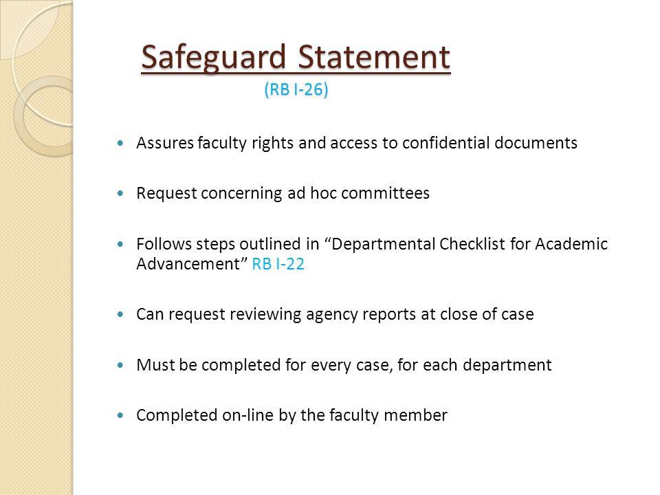 Safeguard Statement (RB I-26)