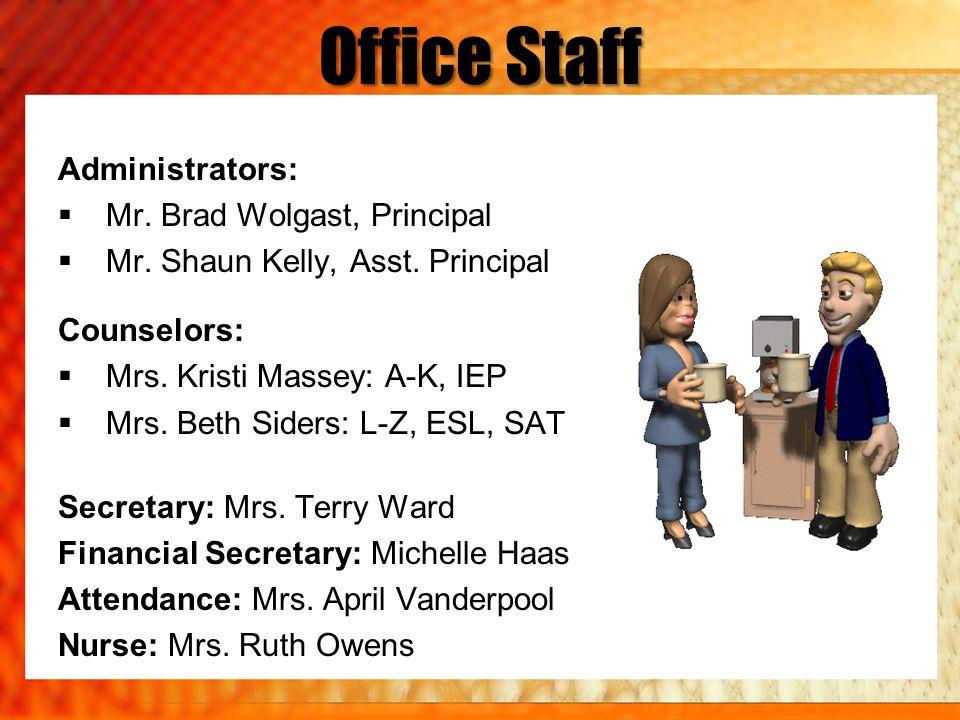 Office Staff Administrators: Mr. Brad Wolgast, Principal