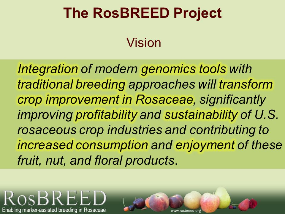 RosBREED The RosBREED Project Vision
