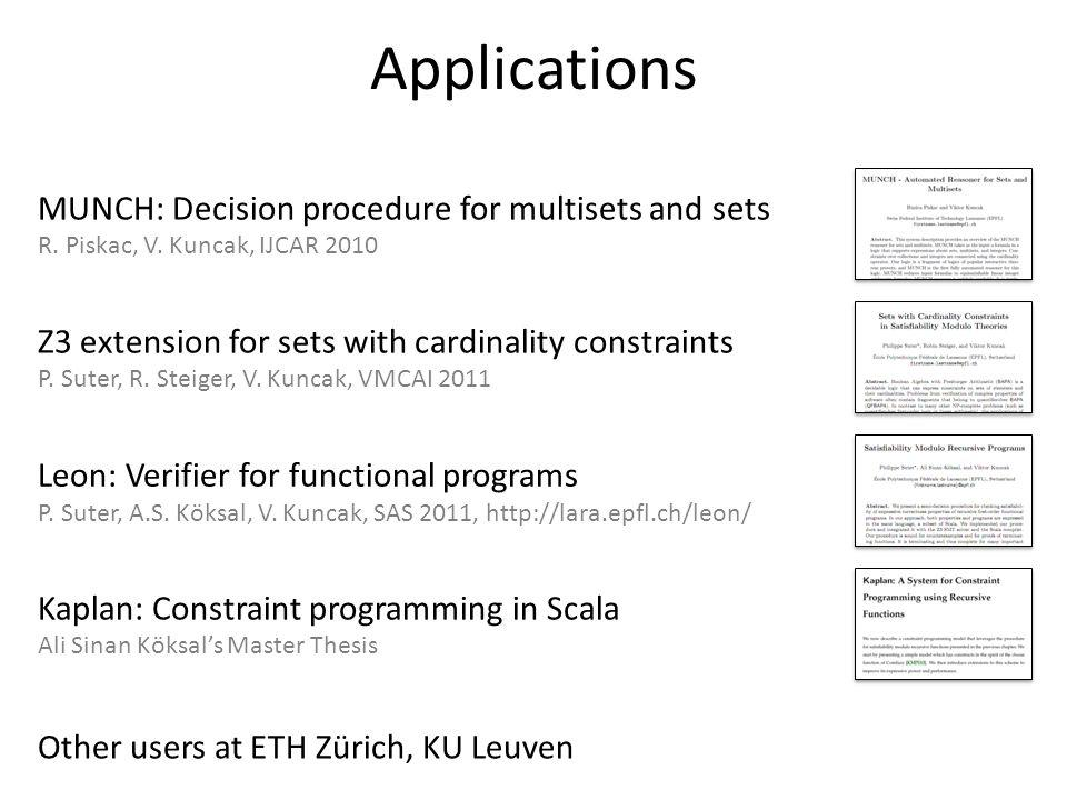 Applications MUNCH: Decision procedure for multisets and sets
