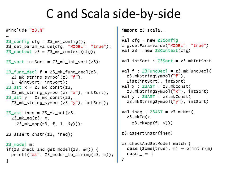 C and Scala side-by-side