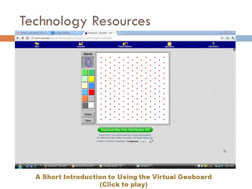A Short Introduction to Using the Virtual Geoboard