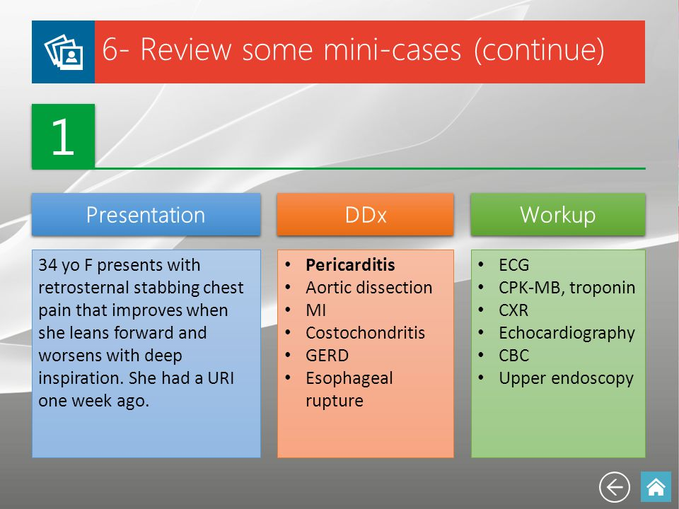 1 6- Review some mini-cases (continue) Presentation DDx Workup