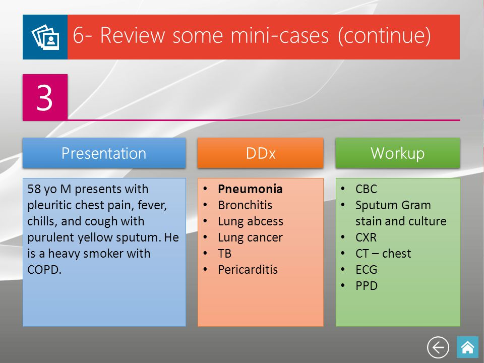 3 6- Review some mini-cases (continue) Presentation DDx Workup