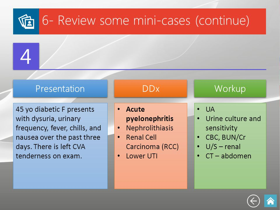 4 6- Review some mini-cases (continue) Presentation DDx Workup