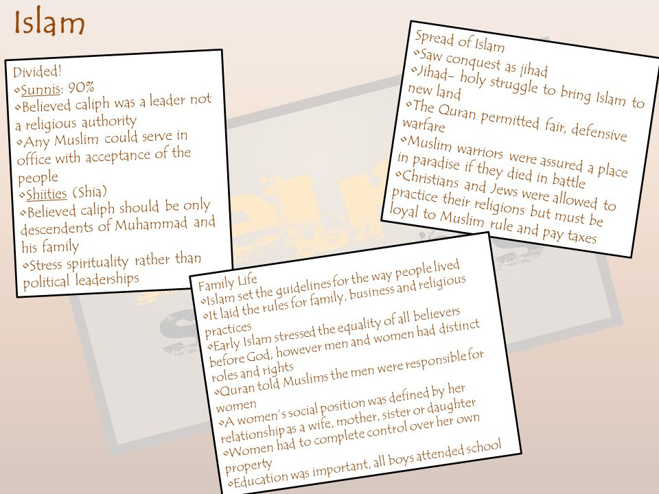 Islam Spread of Islam Saw conquest as jihad