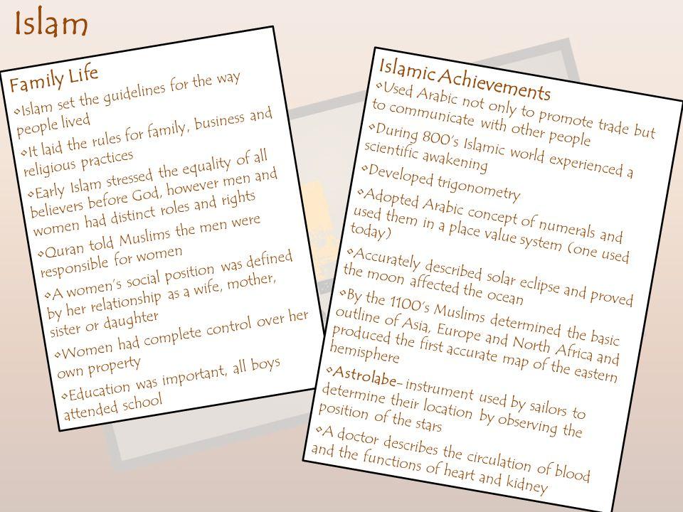 Islam Family Life Islamic Achievements