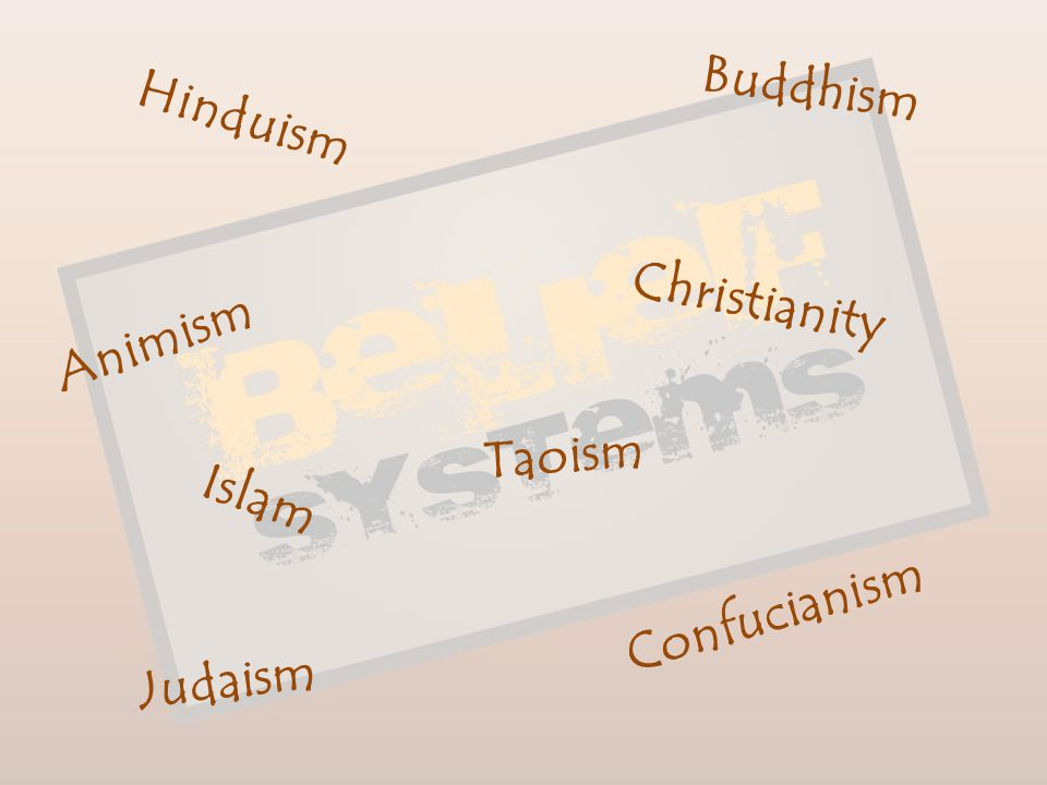 Buddhism Hinduism Christianity Animism Taoism Islam Confucianism Judaism