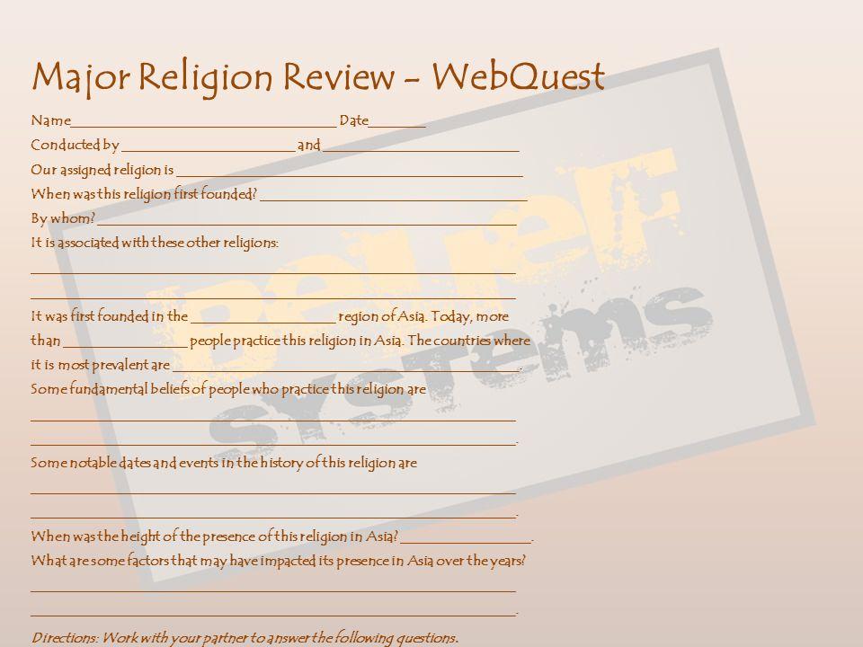 Major Religion Review - WebQuest
