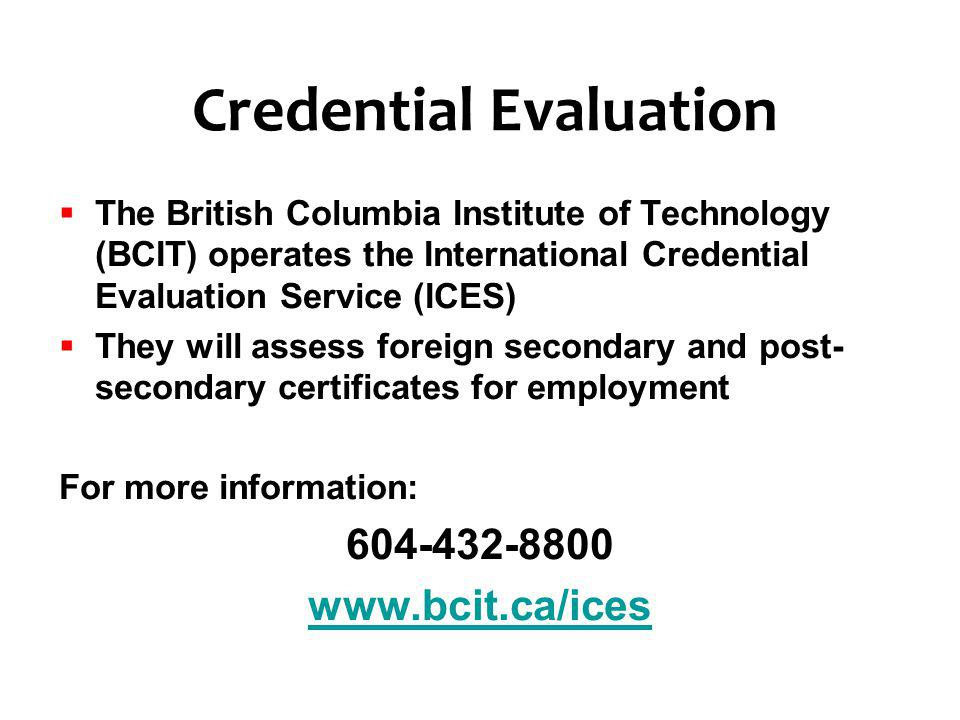 Credential Evaluation