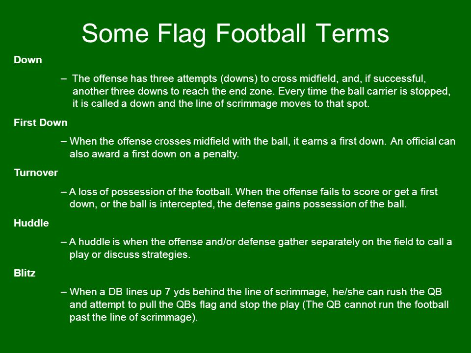 Some Flag Football Terms