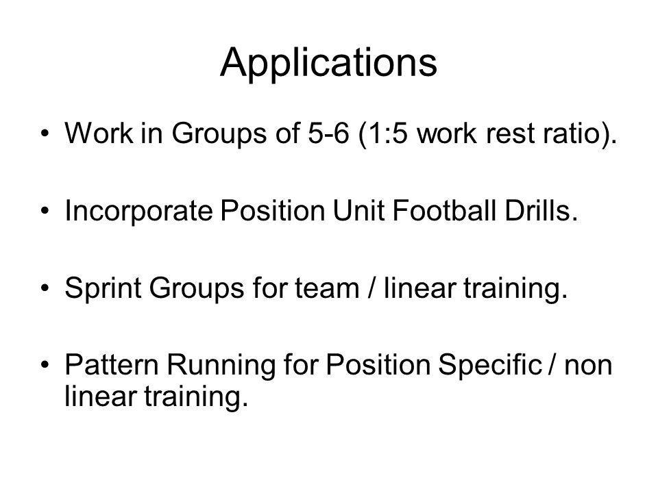 Applications Work in Groups of 5-6 (1:5 work rest ratio).