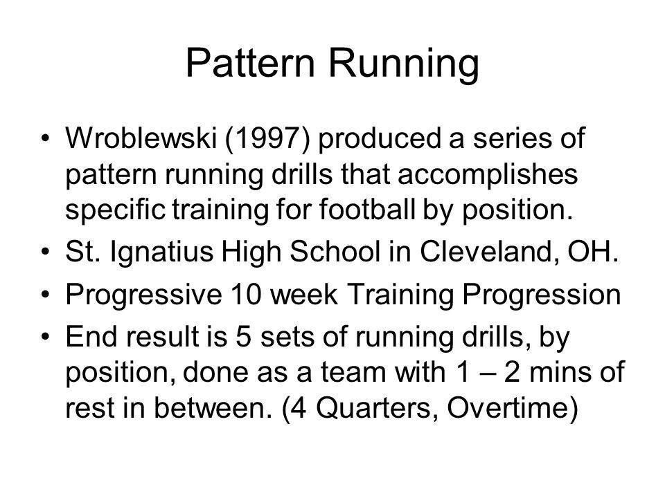 Pattern Running Wroblewski (1997) produced a series of pattern running drills that accomplishes specific training for football by position.