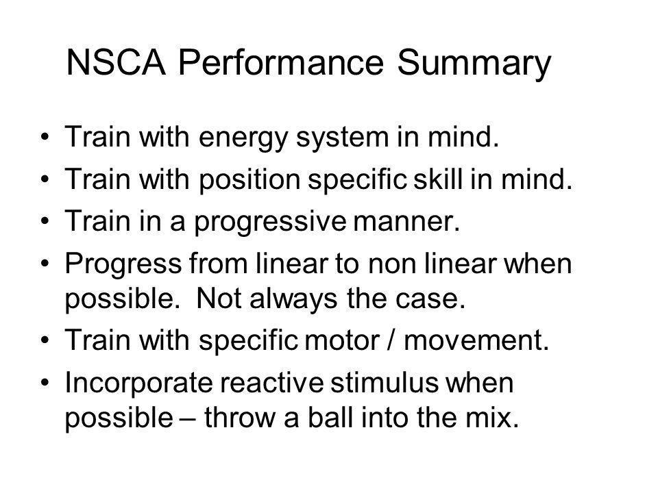 NSCA Performance Summary