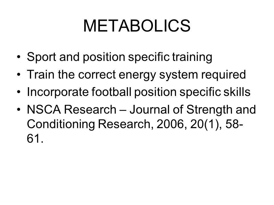 METABOLICS Sport and position specific training