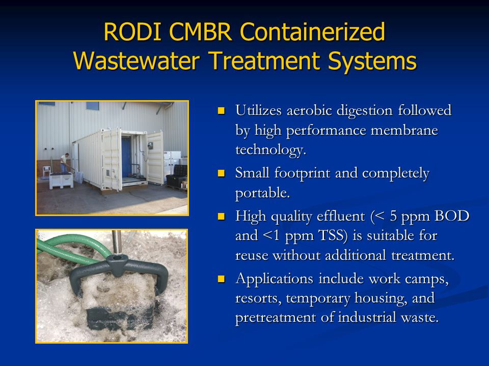 RODI CMBR Containerized Wastewater Treatment Systems